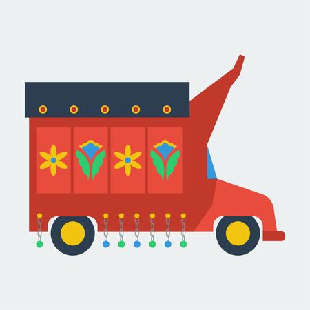 Pakistani truck with artwork flat vector