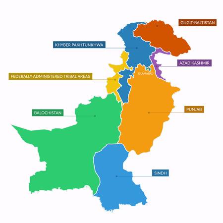 federally: Pakistan map flat vector
