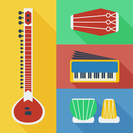 pakistani pakistan: Pakistan musical instruments icons flat vector Illustration