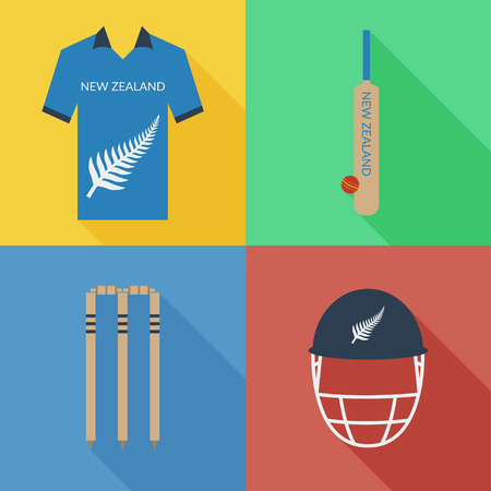 New Zealand cricket icons in flat design with long shadows