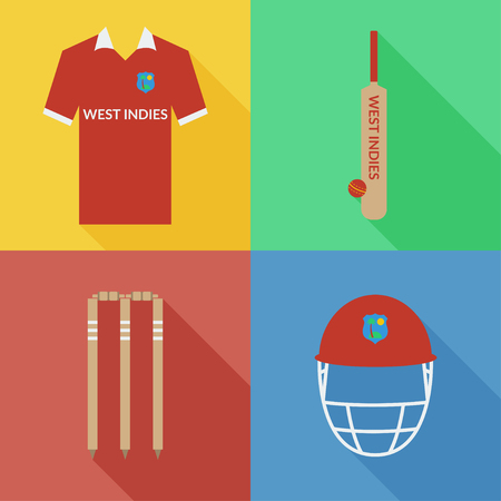 West Indies cricket icons in flat design with long shadows Illustration