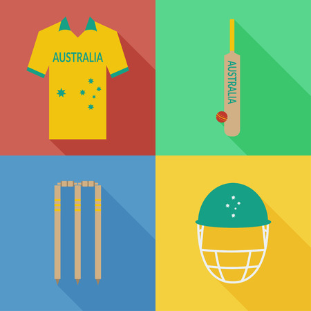 Australia cricket icons in flat design with long shadows Illustration