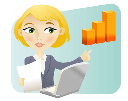 Blonde woman with a bar graph and a computer  Illustration