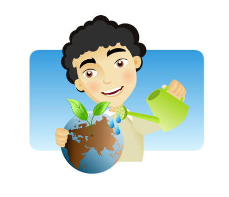 Man man watering the earth with plant sprouting out of it as a result. Vector
