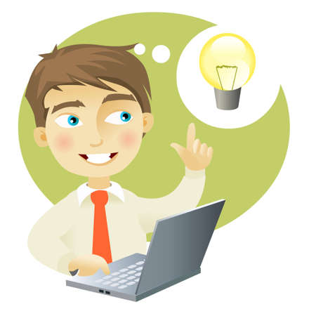 idea generation: A young man with a computer having and idea (represented as a lightbulb) Illustration
