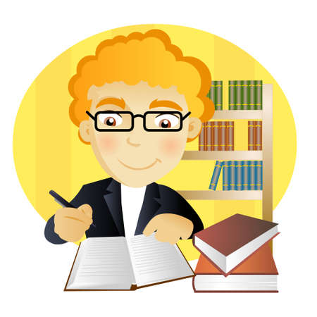 young man with glasses writting a notebook in a library
