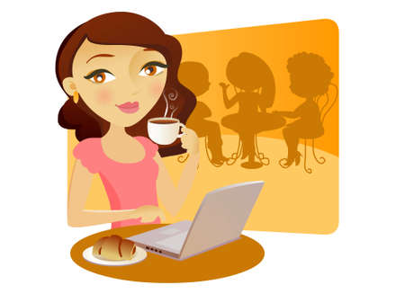 Pretty young girl with a computer in a bar, taking coffe with a cake Illustration