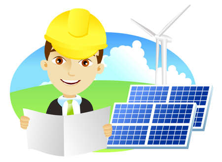 Mid adult male engineer holding blueprints in solar power station with a wind turbine.