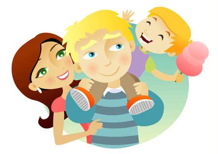 lifestyle family: Familia joven con un gran d�a, un ni�o sentado sobre los hombros del padre de algod�n de az�car