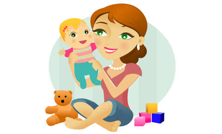 mother holding baby: A woman plays with a baby Illustration