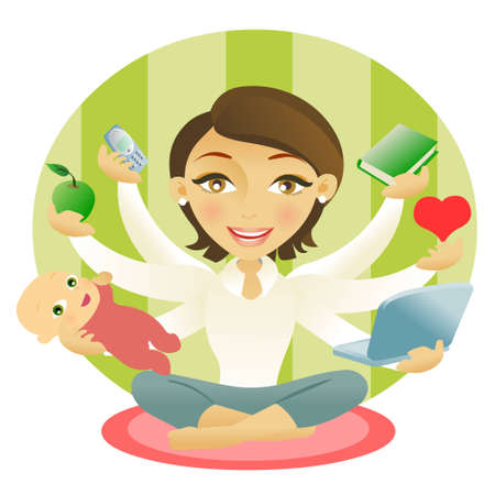 Woman with six arms holding an apple, baby, book, cellphone, computer and heart Stock Vector - 9147234