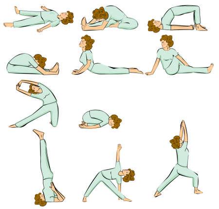 healthy woman white background: yoga postures Illustration
