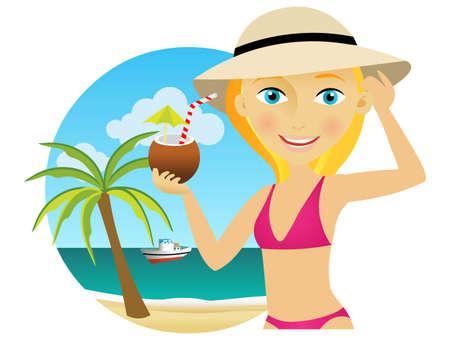 blonde girl at beach Stock Vector - 9147247