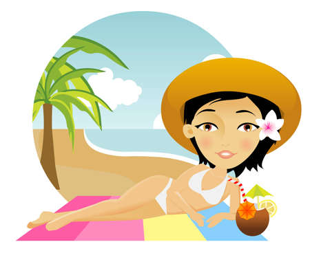 Beautiful girl lies on a towel with a cocktail Vector