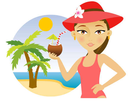 Beautiful young woman in a hat and bikini enjoying a cocktail  Illustration