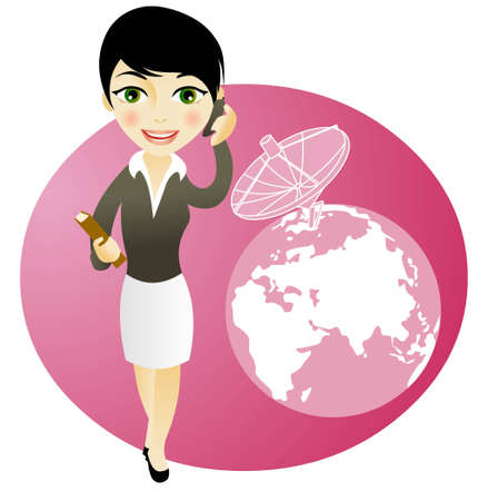 cel: business girl on the phone, communications concepts Illustration