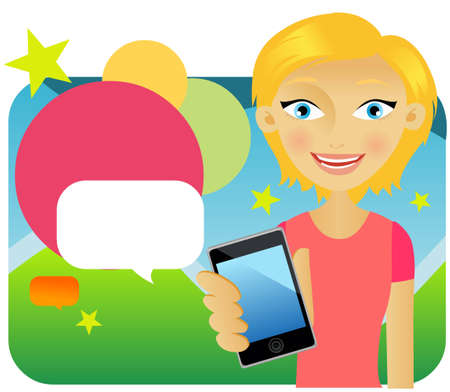 Attractive young female advertising cellphone against colours background Illustration