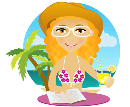 Girl sunbathes on a beach, drinks cocktail and reads a book Vector