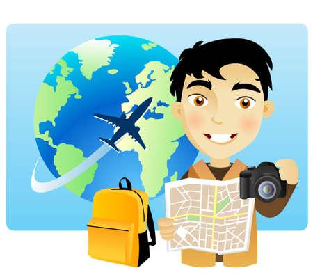 Młody mężczyzna, podróżując dookoła świata z mapy i aparatu fotograficznego