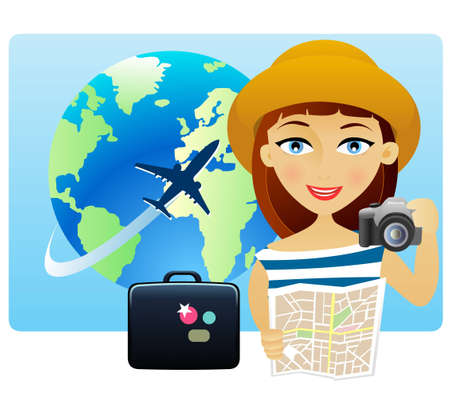 Young woman travelling around the world with a map and a camera Vector