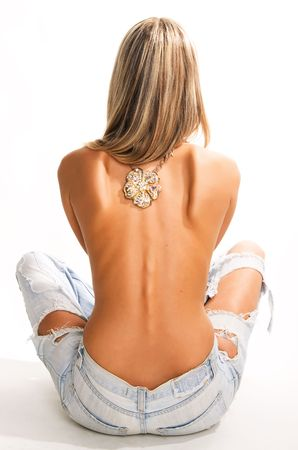 Beautiful sexy woman back on white background Stock Photo