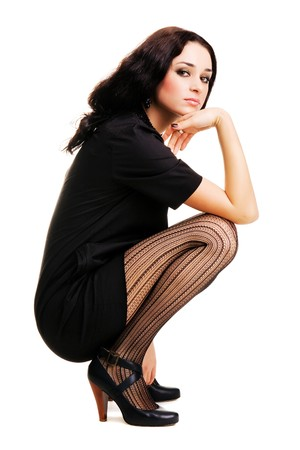 Beautiful fashionable brunette in black clothing  Stock Photo - 7106164