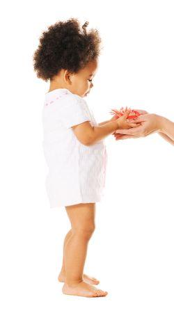 mulato: Bastante peque�a ni�a teniendo una flor de manos de la mujer  Foto de archivo