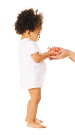 Pretty little girl taking a flower from womans hands photo
