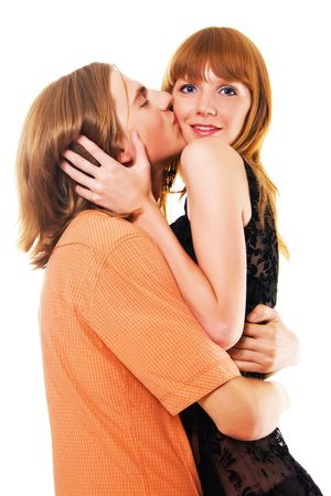 cheeks: Beautiful young man and woman hug one another and have fun together