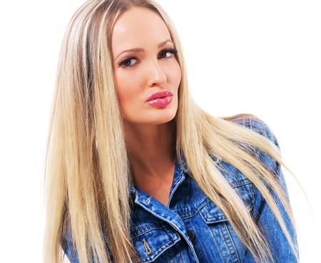 denim jacket: Portrait of a pretty young woman in denim jacket, white background