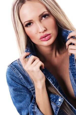 denim jacket: Portrait of sexy woman in blue denim jacket  Stock Photo