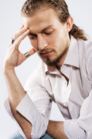 psychologic: Portrait of a handsome thoughtful man Stock Photo