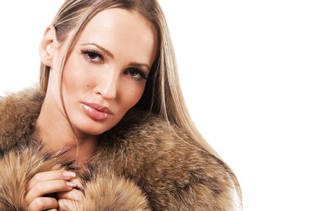 Portrait of a beautiful model in fur  photo