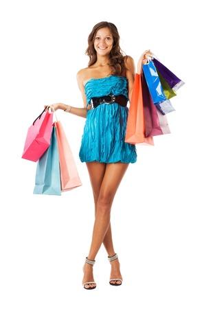 chicas comprando: Hermosa mujer feliz con bolsas de compras Foto de archivo