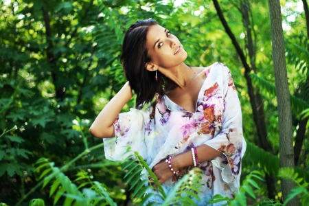 tunic: Gorgeous woman in tropical forest