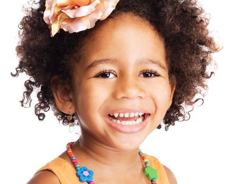 mulatto: Portrait of beautiful happy little girl