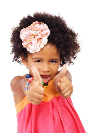 Portrait of a beautiful girl showing thumbs up  photo