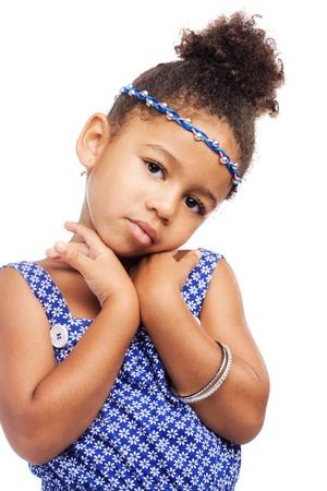 mulatto: Beautiful elegant little girl in stylish clothing
