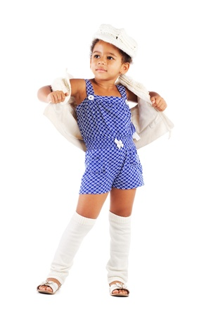 kids wear: Beautiful stylish little girl against white background