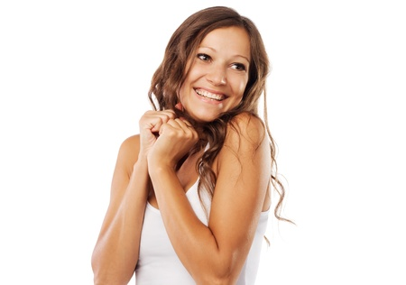woman smiling: Cute happy woman on white background