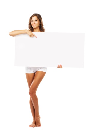bare body women: Beautiful woman with empty board isolated on white background Stock Photo