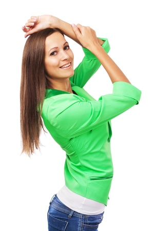 Portrait of beautiful woman in green jacket on white background