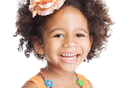 sweet smile: Portrait of beautiful happy little girl