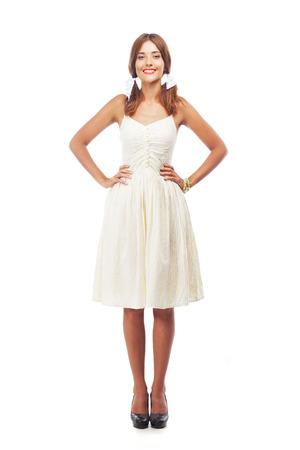 sundress: Full-length portrait of a lovely woman in sundress against white background Stock Photo