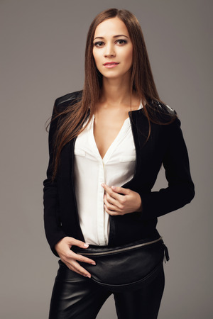 fanny: Elegant woman with a black leather fanny pack