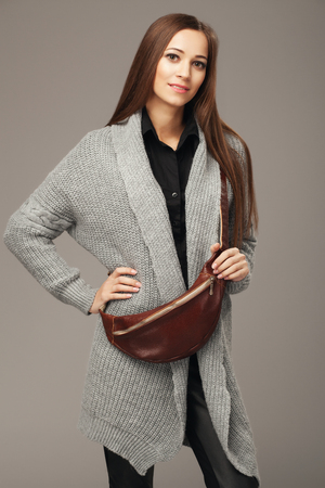fanny: Elegant woman with a leather fanny pack Stock Photo
