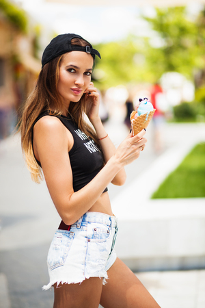 Summer girl with ice cream photo