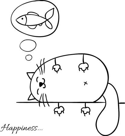 設計するために猫の背景をスケッチ面白い漫画が眠っています。  イラスト・ベクター素材