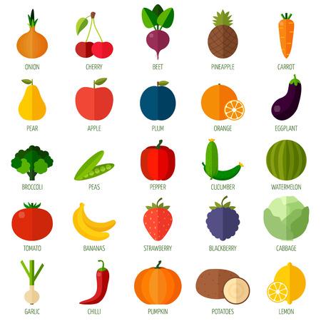 다채로운 평면 과일과 야채 아이콘을 설정합니다. 요리, 레스토랑 메뉴 및 채식 요리를위한 템플릿