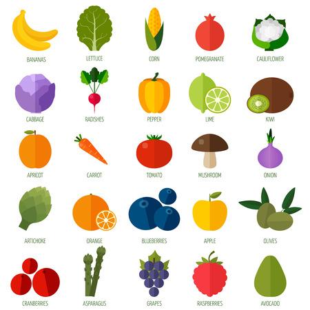 Kleurrijke vlakke groenten en fruit iconen set. Sjabloon voor het koken, menu restaurant en vegetarische gerechten Stock Illustratie